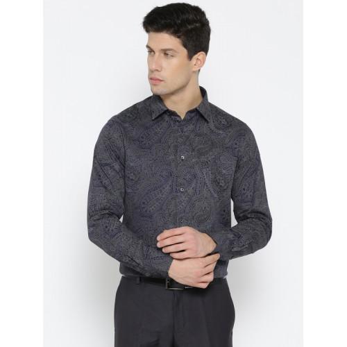 Blackberrys Men Navy Blue & Grey Slim Fit Printed Party Shirt