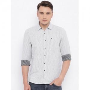 Wrangler Men Grey Regular Fit Self Design Casual Shirt