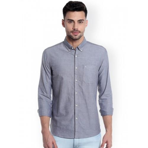 Numero Uno Men Grey Slim Fit Self Design Casual Shirt