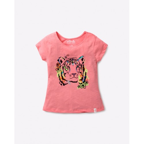 POINT COVE Tiger Print Heathered T-shirt