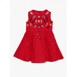Bella Moda Red Embroidered Casual Dress