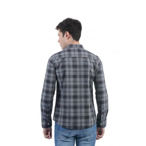 Flying Machine Charcoal Slim Fit Checks Shirt