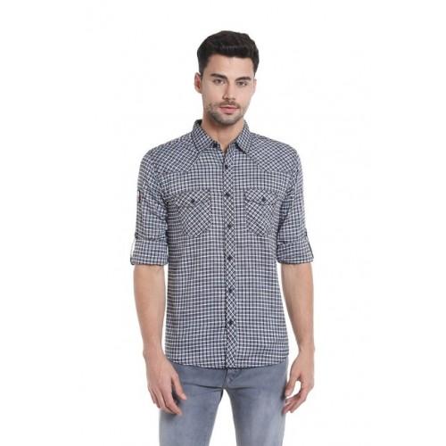 Spykar Dark Grey Slim Fit Checks Shirt