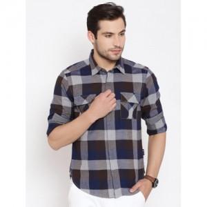 American Swan Grey & Navy Checked Casual Shirt