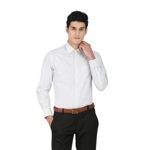 34bbd843553 Buy John Players White Slim Fit Full Sleeves Printed Shirt online ...
