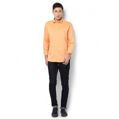 Van Heusen orange cotton casual shirt