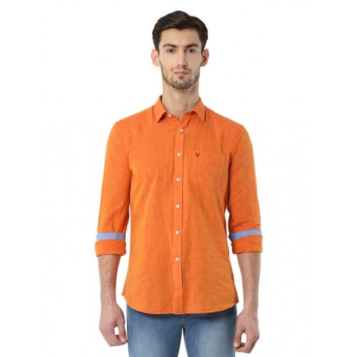 Allen Solly orange cotton blend casual shirt