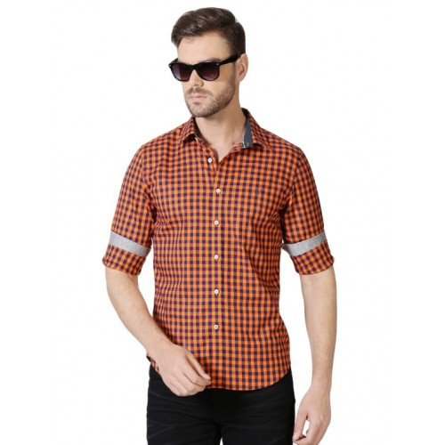 Allen Solly orange cotton blend casual shirt