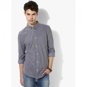 United Colors of Benetton Grey Textured Slim Fit Casual Shirt