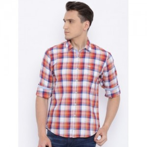 Pepe Jeans Men Off-White & Orange Regular Fit Checked Casual Shirt