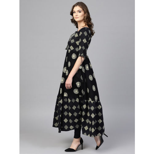 GERUA Black & Beige Cotton Printed Anarkali Kurta