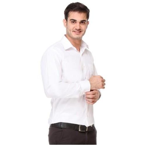 28cbd0a4321 Buy Hancock White Pure Cotton Solid Regular Fit Formal Shirt online ...