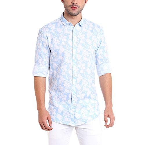 Dennis Lingo Men's Cotton Linen Pink Floral Printed Casual Shirt