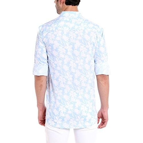 Dennis Lingo Men's Cotton Linen Pink Floral Printed Casual Shirt