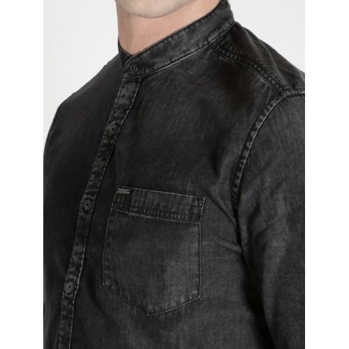 Ecko Unltd Men Black Faded Denim Casual Shirt