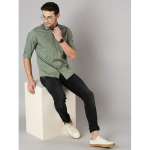 Dennis Lingo Green Cotton Solid Slim Fit Casual Shirt