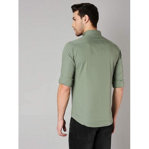 Dennis Lingo Green Cotton Solid Slim Fit Casual Shirt