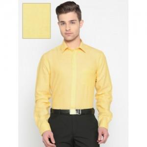 Park Avenue Men Yellow Regular Fit Solid Formal Shirt