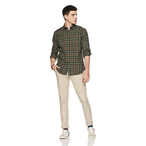 Indian Terrain Olive Green Cotton Checkered Regular Fit Casual Shirt