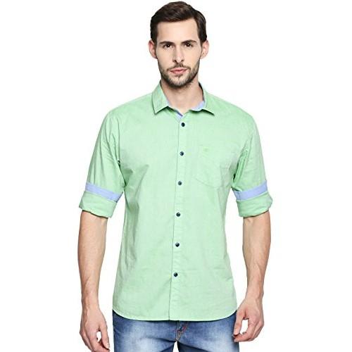 1ad379235cf9 ... LA Seven Men's Light Green Cotton Solid Slim Fit Casual Shirt ...
