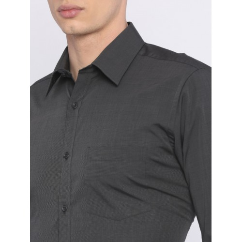 Park Avenue Charcoal Grey Slim Fit Solid Formal Shirt