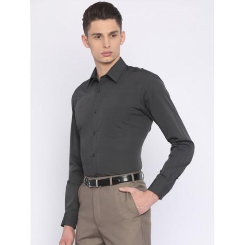 Park Avenue Charcoal Grey Slim Fit Solid Formal Shirt