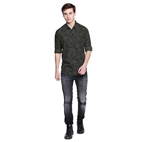 Dennis Lingo Olive Cotton Printed Slim Fit Casual Shirt