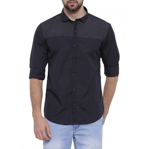 SHOWOFF dark blue cotton casual shirt