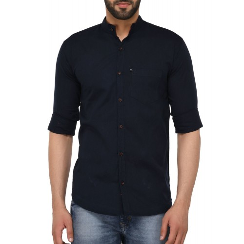 VILLAIN navy blue cotton casual shirt