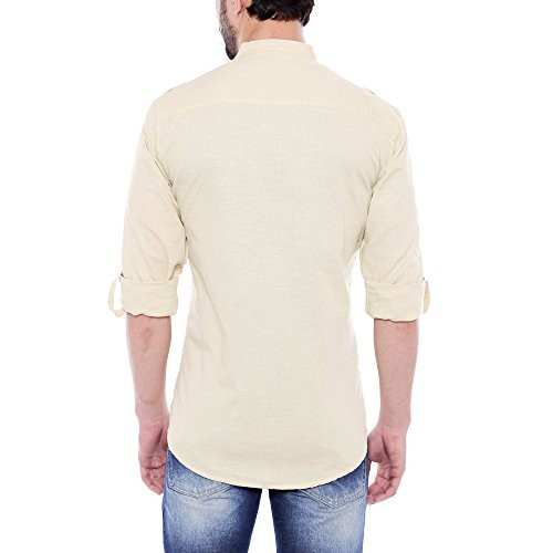 Dennis Lingo Men's Solid Sky Blue Linen Casual Shirt