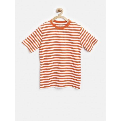 0df3bea32ac Buy POPPERS by Pantaloons Boys Orange & White Striped T-shirt ...
