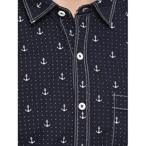 JEANERATION navy blue cotton casual shirt