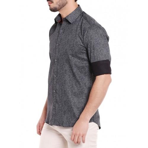 Solemio black cotton casual shirt