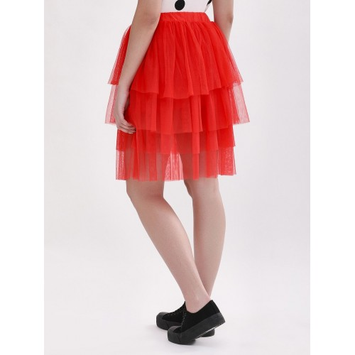 KOOVS Red Solid Tiered Ruffle Mini Skirt