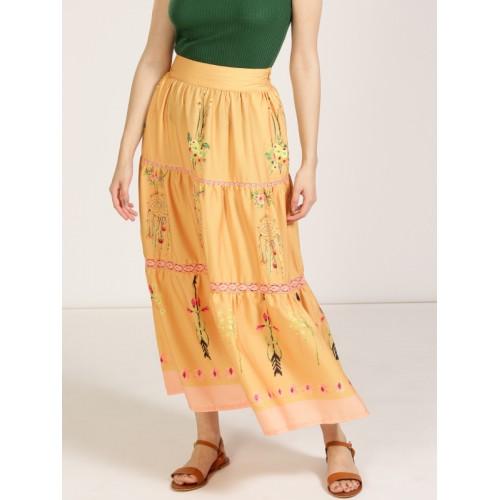 Anouk Women Mustard Yellow Floral Print Tiered Maxi Skirt