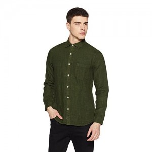 BUFFALO By fbb Olive Green Cotton Solid Regular Fit Casual Shirt