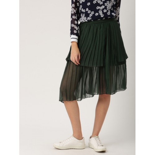 DressBerry Women Green Accordion Pleat Skirt