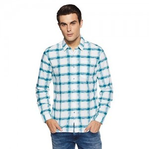 Lee White & Green Cotton Checkered Slim Fit Casual Shirt