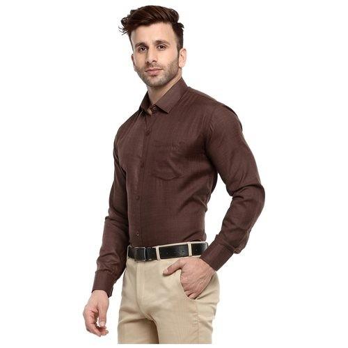 ee2c103e95e Buy Hangup Brown Formal Mens Regular Fit Shirt Cotton Blend Fabric ...