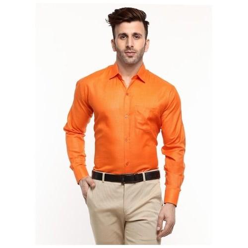 540cb61d990 ... Hangup Mens Formal Cotton Blend Orange Color Shirt Regualr Fit Size ...