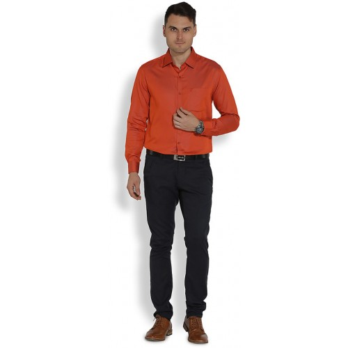 Erric Men Classy Orange Plain Semi Formal Shirt