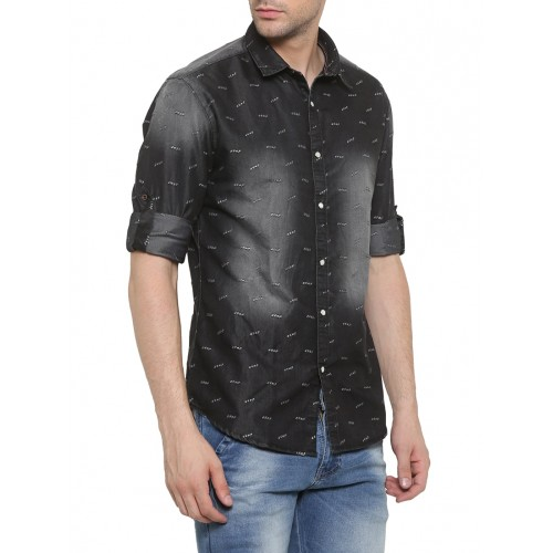 SHOWOFF black denim casual shirt