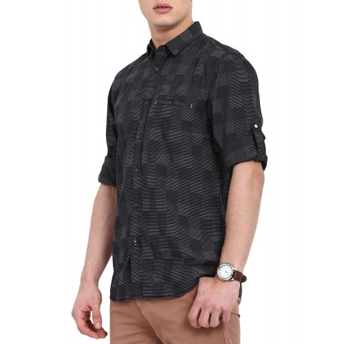 Slub black cotton casual shirt