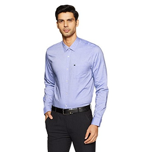 blackberrys Blue Cotton Solid Slim Fit Formal Shirt