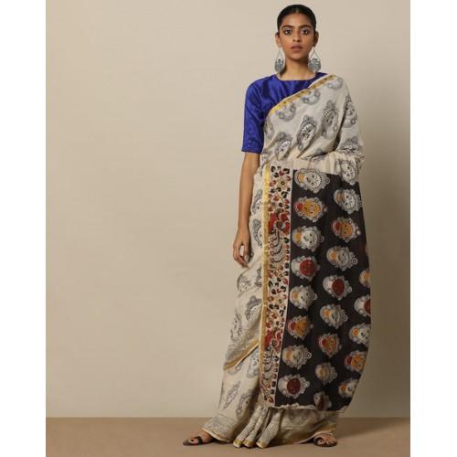 5f32c8fba799ed ... Sun Kalamkari Kalamkari Print Cotton Rayon Saree with Zari Border ...