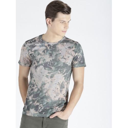s.Oliver Men Green & Grey Printed Round Neck Slim Fit T-shirt