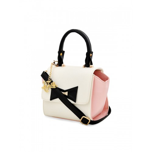 LaFille Off-White & Pink Colourblocked Handheld Bag