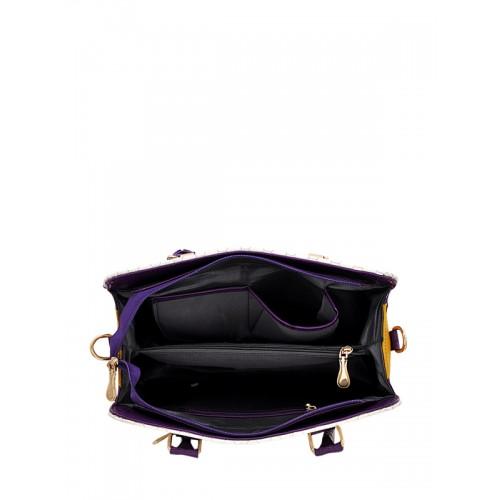 LaFille Purple & Off-White Textured Handheld Bag