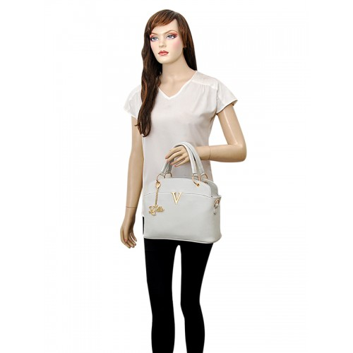 LaFille Grey Solid Handheld Bag