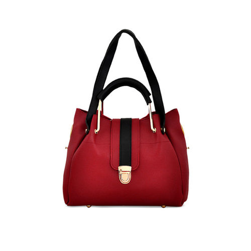 Mark & Keith Maroon Polyurethane Solid Shoulder Bag